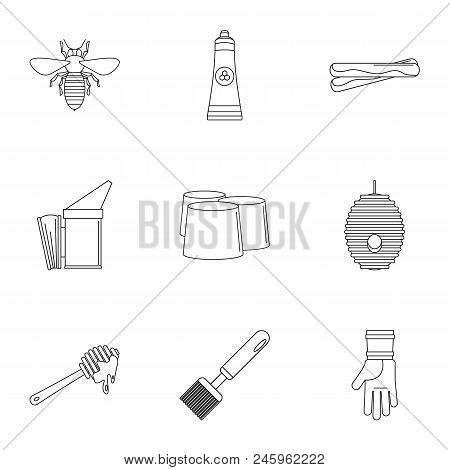 Honey Commodity Icons Set. Outline Set Of 9 Honey Commodity Vector Icons For Web Isolated On White B