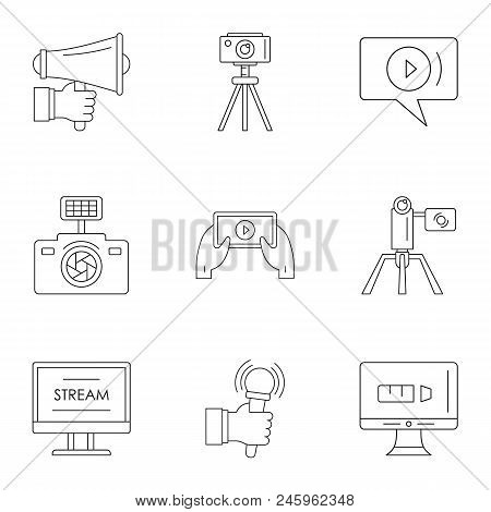 Blockbuster Icons Set. Outline Set Of 9 Blockbuster Vector Icons For Web Isolated On White Backgroun
