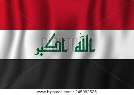 Iraq Realistic Waving Flag Vector Illustration. National Country Background Symbol. Independence Day