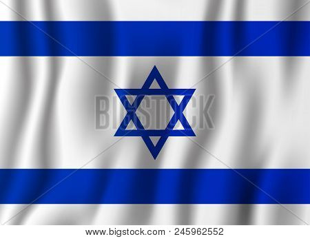 Israel Realistic Waving Flag Vector Illustration. National Country Background Symbol. Independence D
