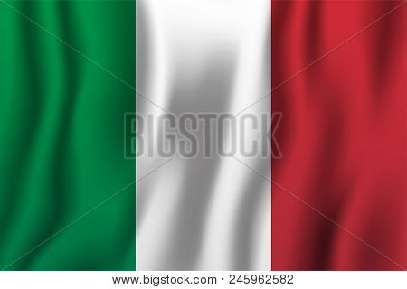 Italy Realistic Waving Flag Vector Illustration. National Country Background Symbol. Independence Da