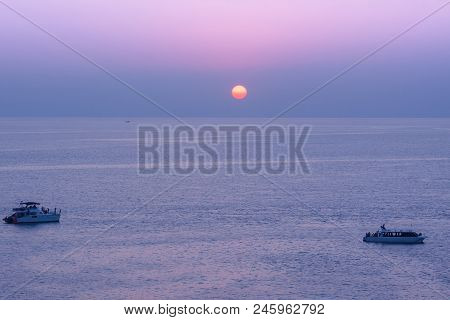 Yacht In The Tropical Sea At Sunset , Thailand
