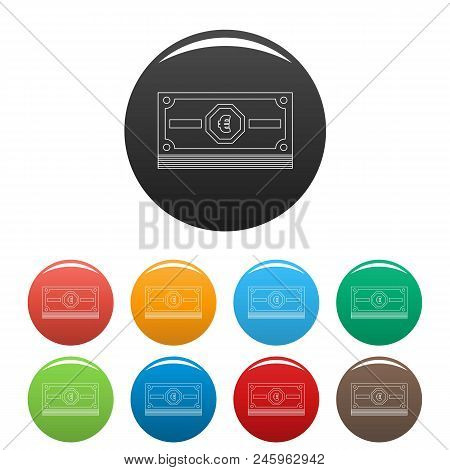 Euro Cash Icon. Outline Illustration Of Euro Cash Vector Icons Set Color Isolated On White