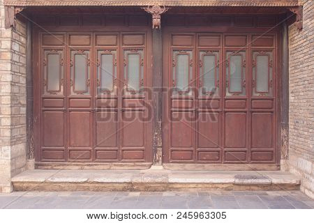 Ancient Door Of Chinese House At Kunming , China