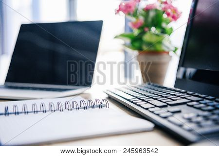 Closeup Shot Of Empty Textbook, Laptop, Flowers In Pot, Computer, Computer Keyboard And Computer Mou