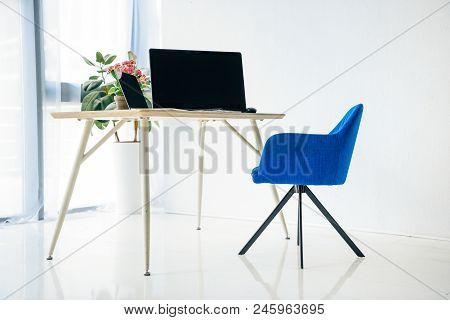Interior Of Room With Chair, Table, Potted Plants, Laptop, Computer, Computer Mouse And Computer Key