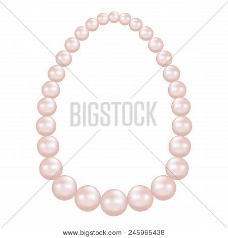 Pearl Necklace Mockup. Realistic Illustration Of Pearl Necklace Vector Mockup For Web Design Isolate