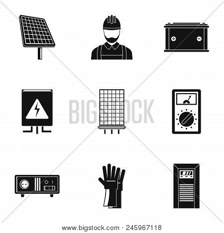 Electrician Icons Set. Simple Set Of 9 Electrician Vector Icons For Web Isolated On White Background