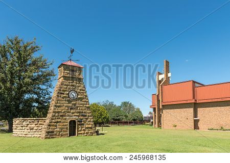 Clocolan, South Africa - March 12, 2018: The Dutch Reformed Church And Memorial Wall In Clocolan In