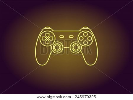 Neon Icon Of Yellow Joystick. Vector Illustration Of Wireless Gamepad Consisting Of Neon Outlines. N