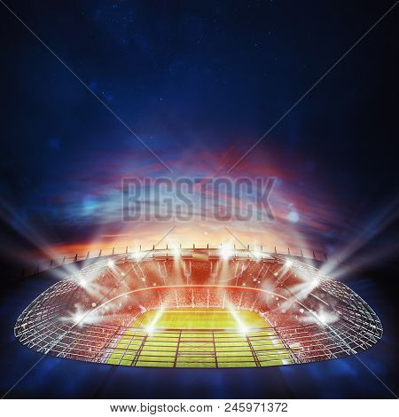 Football Stadium With Light Effects. 3d Rendering