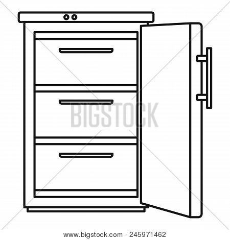 Refrigerator Icon. Outline Illustration Of Refrigerator Vector Icon For Web Design Isolated On White