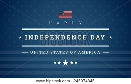 Happy Independence Day Usa Blue Background With The United States Flag. 4th Of July Usa Independence