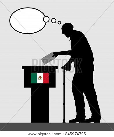 Mexican voter old man voting for election in Mexico with thought bubble. All the silhouette objects and backgrounds are in different layers. poster