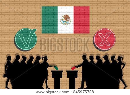 Mexican Voters Crowd Silhouette In Election With Check Marks And Mexico Flag Graffiti. All The Silho