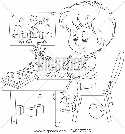 Little Boy Doing His Homework In An Exercise Book With Samples Of Writing, Black And White Vector Il