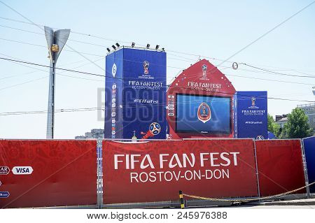 Rostov-on-don, Russia - 14 June, 2018 Theater Square Fifa World Cup 2018 Host City Rostov-on-don Pla