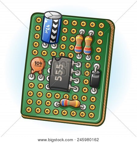 Green Circuit Board Project With Soldered Components Forming An Electrical Circuit