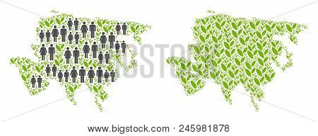 People Population And Environment Asia Map. Vector Mosaic Of Asia Map Organized Of Random Men And Wo