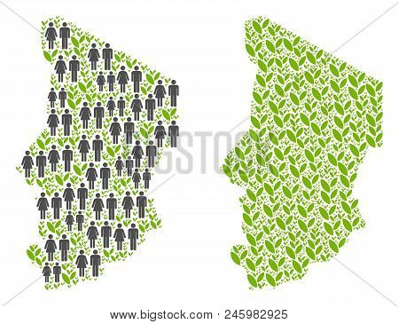 People Population And Eco Chad Map. Vector Collage Of Chad Map Done Of Scattered People And Plant It