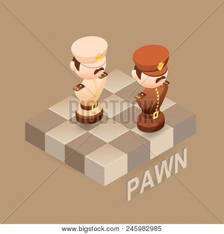 Isometric Cartoon Chess Pieces Pawn. Black And White. Cute Chessman And Fragment Of Checkerboard Iso