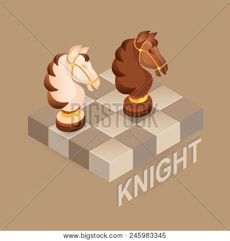 Isometric Cartoon Chess Pieces  Knight.  Black And White. Cute Chessman And Fragment Of Checkerboard