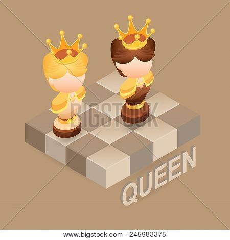 Isometric Cartoon Chess Pieces Queen. Black And White. Cute Chessman And Fragment Of Checkerboard Is