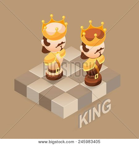 Isometric Cartoon Chess Pieces King. Black And White. Cute Chessman And Fragment Of Checkerboard Iso