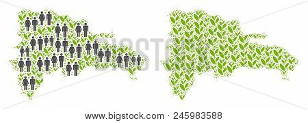 People Population And Flora Plants Dominican Republic Map. Vector Concept Of Dominican Republic Map