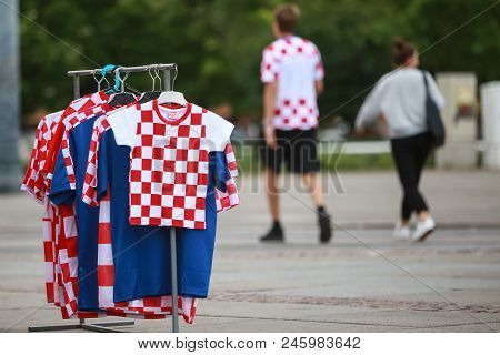 Zagreb, Croatia - June 16th, 2018 : Booth With Croatian Football Fan T-shirts On The Street Of Zagre