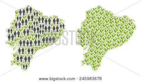 People Population And Flora Plants Ecuador Map. Vector Collage Of Ecuador Map Designed Of Scattered