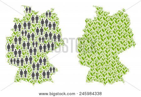 People Population And Ecology Germany Map. Vector Collage Of Germany Map Done Of Randomized Person A