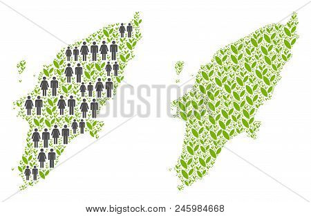 People Population And Flora Greek Rhodes Island Map. Vector Composition Of Greek Rhodes Island Map C