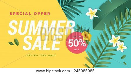 Summer Sale Vector Illustration For Mobile And Social Media Banner, Poster, Shopping Ads, Marketing