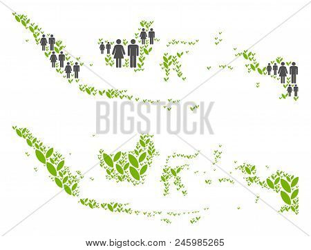 People Population And Floral Indonesia Map. Vector Concept Of Indonesia Map Designed Of Random Men A
