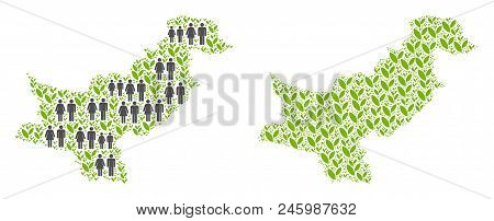 People Population And Ecology Pakistan Map. Vector Concept Of Pakistan Map Formed Of Random Crowd An