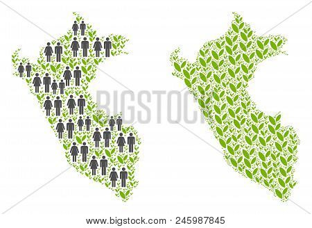 People Population And Eco Peru Map. Vector Concept Of Peru Map Organized Of Randomized Human And Pla