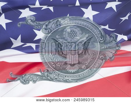 Eagle On U.s. Dollar Bill Closeup Macro On Usa Flag , 1 Usd Banknote