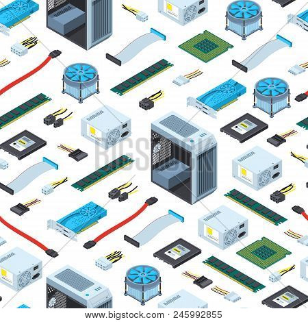 Vector isometric electronic devices background or pattern illustration. Computer equipment isometry, hardware and component poster
