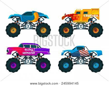 Van 4x4 With Big Wheels. Vector Pictures Of Monster Trucks. Auto Motor, Heavy Transport Professional
