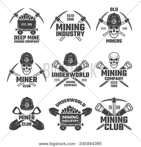 Industrial Gold And Various Mineral Mining. Black Labels Vector Set. Mine Mineral Emblem, Underworld