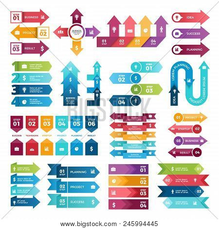 Colored Arrows For Business Presentations. Vector Collection Of Infographic Elements. Illustration O