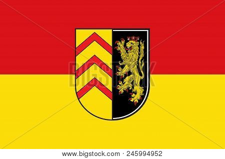 Flag Of Suedwestpfalz Is A District In The South Of Rhineland-palatinate, Germany. Vector Illustrati