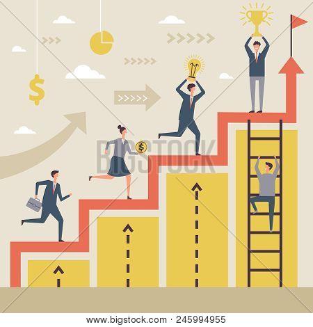 Business Concept Of Winners. Success Peoples Running To Their Big Goal. Successful Winner Achievemen