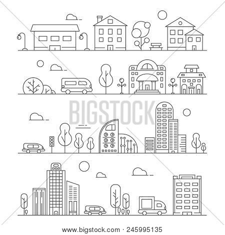 Line Urban Landscapes. Set Of Various City Buildings. Urban City Town Linear, Building House Archite