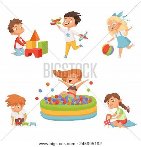 Preschool Childrens Playing In Various Toys. Vector Illustrations In Cartoon Style. Child Preschool,