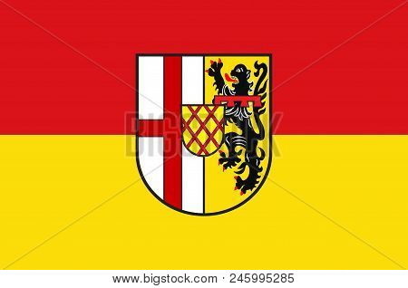 Flag Of Vulkaneifel Is A District In The Northwest Of The State Rhineland-palatinate, Germany. Vecto