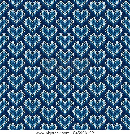 Valentine's Day Holiday Seamless Knit Pattern With Hearts. Scheme For Knitted Sweater Pattern Design