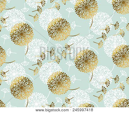 Turquoise And Gold Abstract Dandelion Flower Seamless Pattern For Background, Wrapping Paper, Fabric