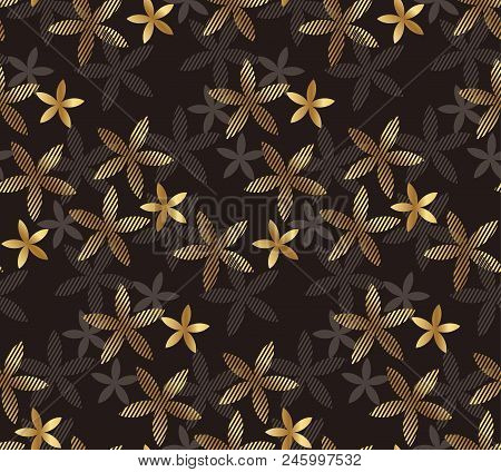 Luxury Geometric Vanilla Flower Seamless Pattern For Background, Wrapping Paper, Fabric, Surface Des